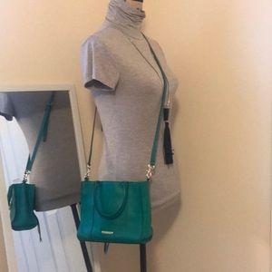 Rebecca minkoff green leather crossbody purse